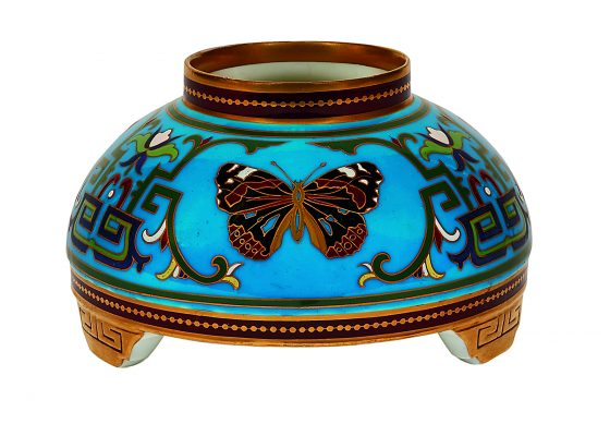 Christopher Dresser (1834-1904) for Minton vase, #1470 England enameled and gilt porcelain