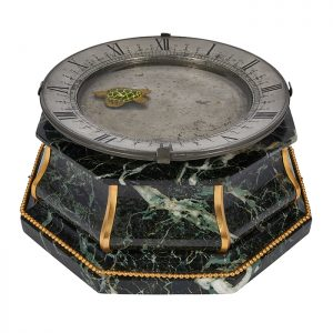"French, circa 1890 Swimming Turtle mystery clock green marble, brass, pewter, ceramic 11""w x 10 1/2""d x 5""h"