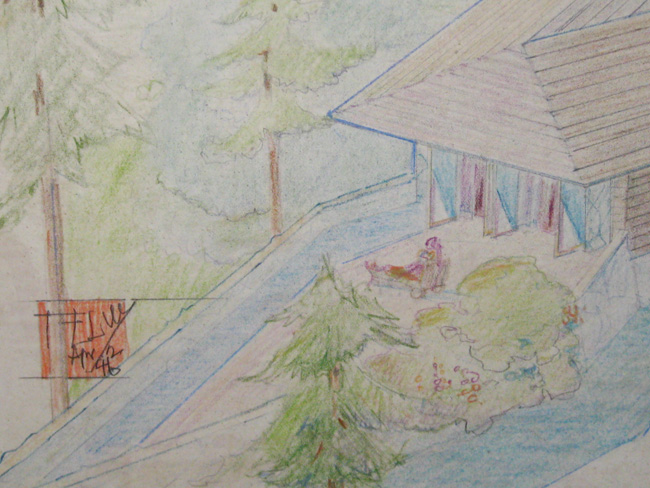 rendering of mountain lodge