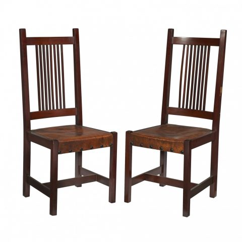 Leopold Stickley Spindle Side Chairs Set of Eight (Four Shown)