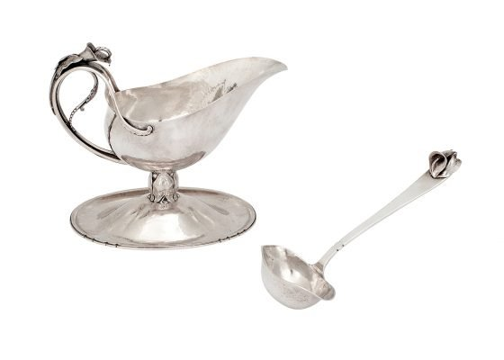 Peer Smed, 'Calla Lily' gravy or sauce boat on applied foot, with matching ladle