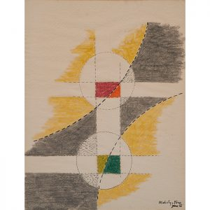 Laszlo Moholy-Nagy, (Hungarian, 1895-1946), Untitled, June 1946, crayon and ink on paper, signed and dated lower right,