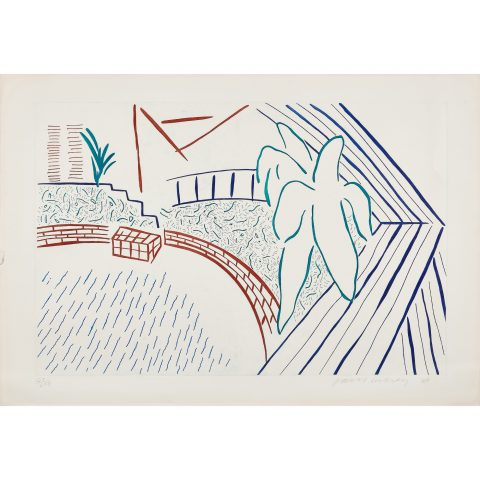 David Hockney, My Pool and Terrace, 1983 (from Eight by Eight to Celebrate the Temporary Contemporary)