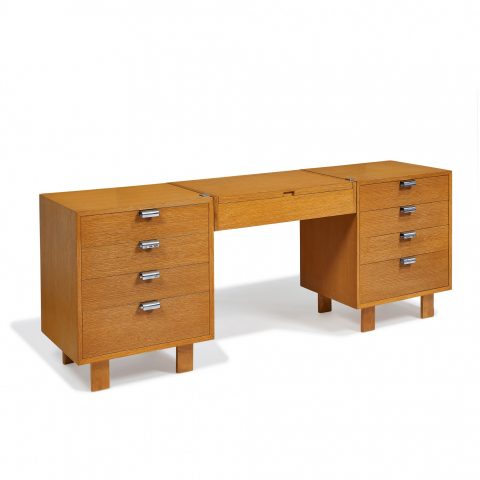 George Nelson (1908–1986) for Herman Miller, cabinets, pair, model 4631, with vanity, model 4661