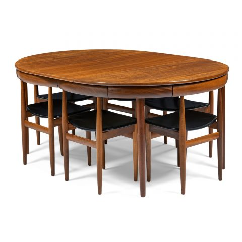 Hans Olsen (1919-1992) for Frem Rojle, dining table and six chairs