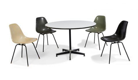 Eames, shell chairs, four, with round table