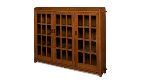 L. & J.G. Stickley, three-door bookcase, #647