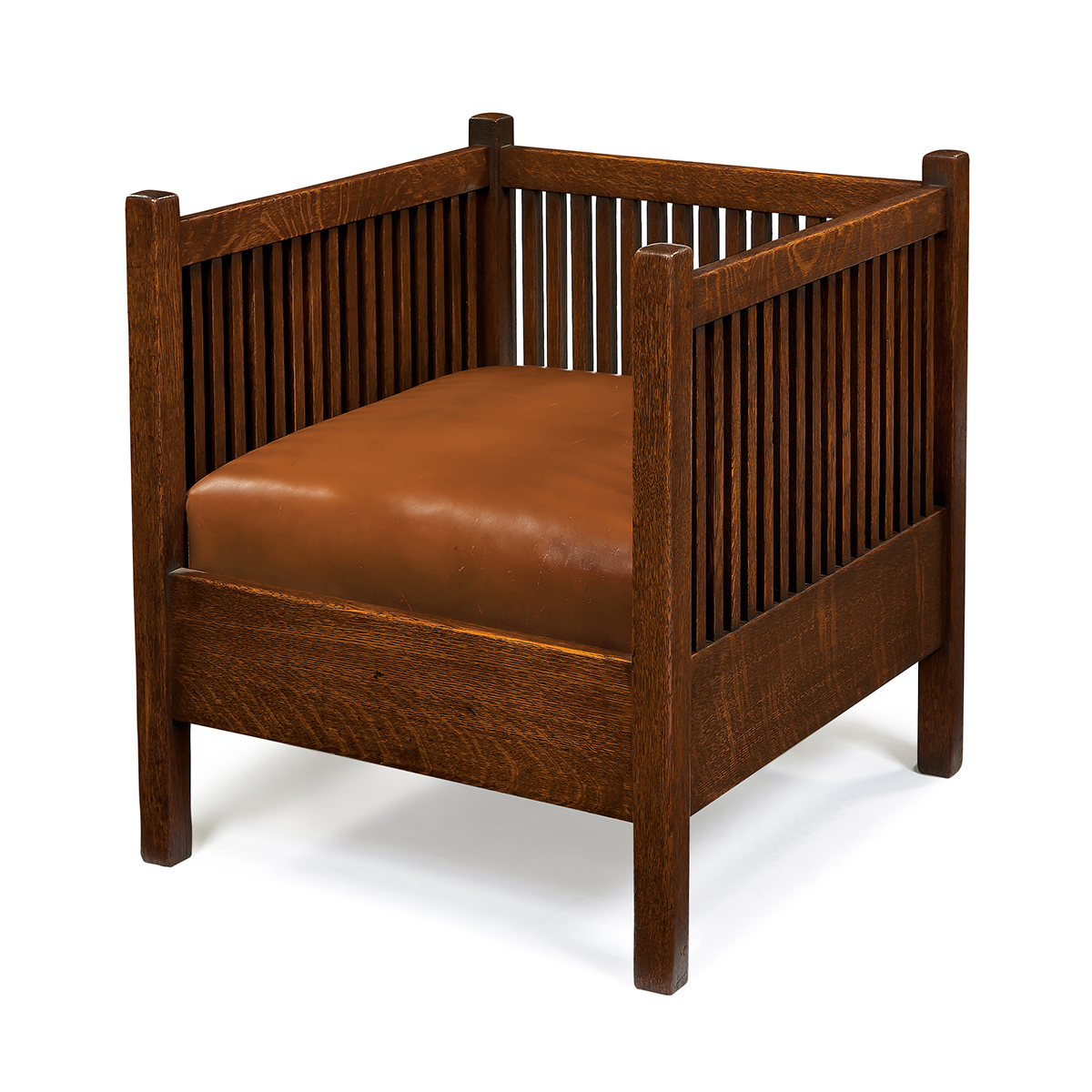 Gustav Stickley, spindle cube chair, #391