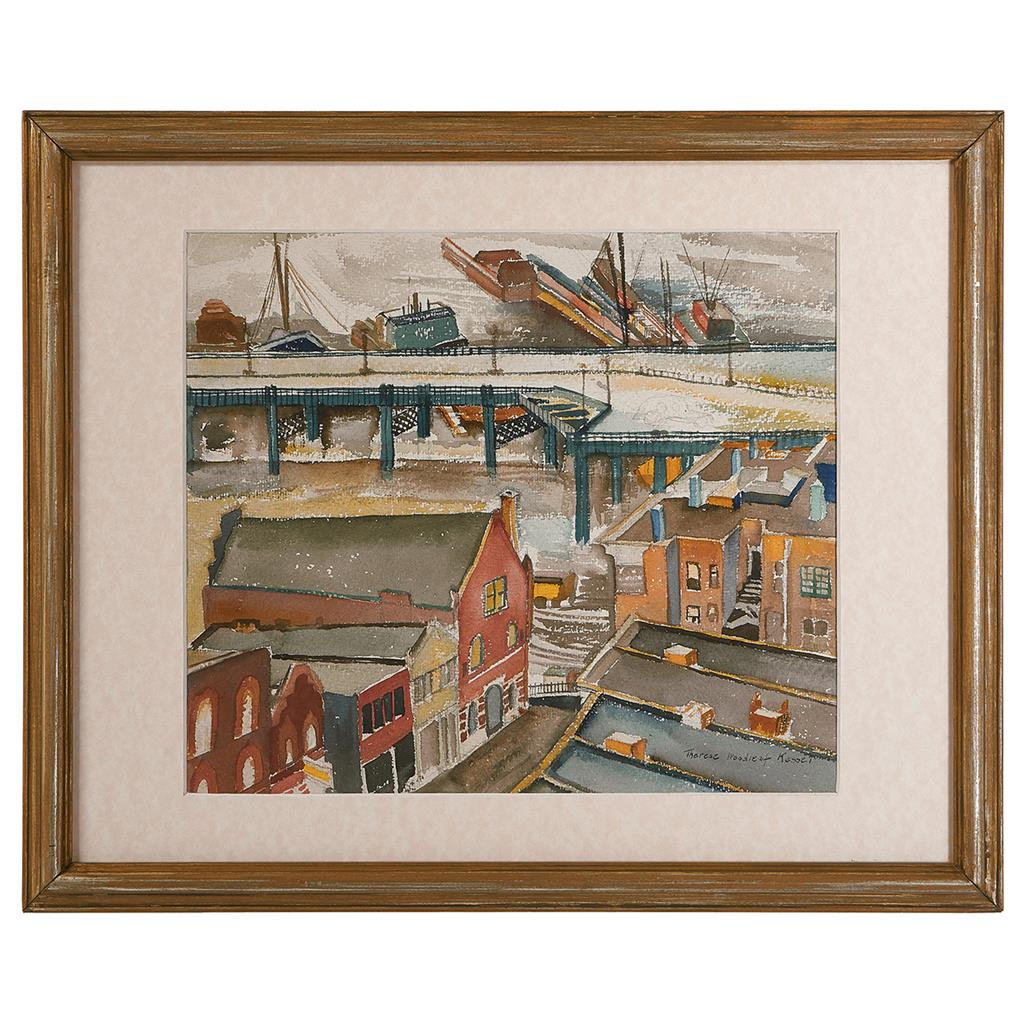 """Therese Woodleaf Kessel, (American, 19th/20th century), Dock Scene, watercolor, 12 1/2"""" x 14 1/2"""""""