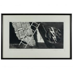 """James Rosenquist, (American, 1933-2017), Wind + Lightning (2nd state), 1978, etching, 17 1/2"""" x 35 3/4"""""""