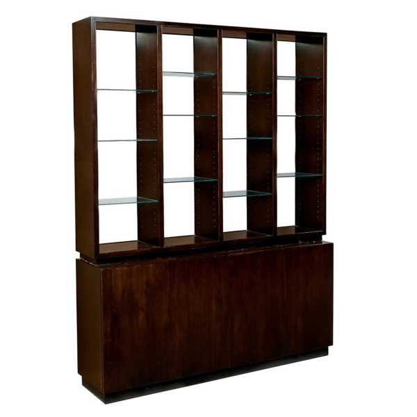 "Edward Wormley (1907-1995) for Dunbar large Through-View superstructure and cabinet, model no. 5221 as shown: 71""w x 16""d x 91""h"