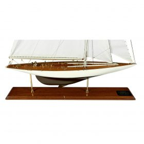 """Yachting Interest 1930 America's Cup Yacht Enterprise scale hull ship model replica ship: 36""""w x 6 3/4""""d x 54 1/4""""h; case: 38""""w x 10.."""