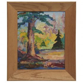 "Anne Estelle Rice, (American, 1879-1959), Landscape with Trees, oil on canvas laid on board, 10"" x 8"""