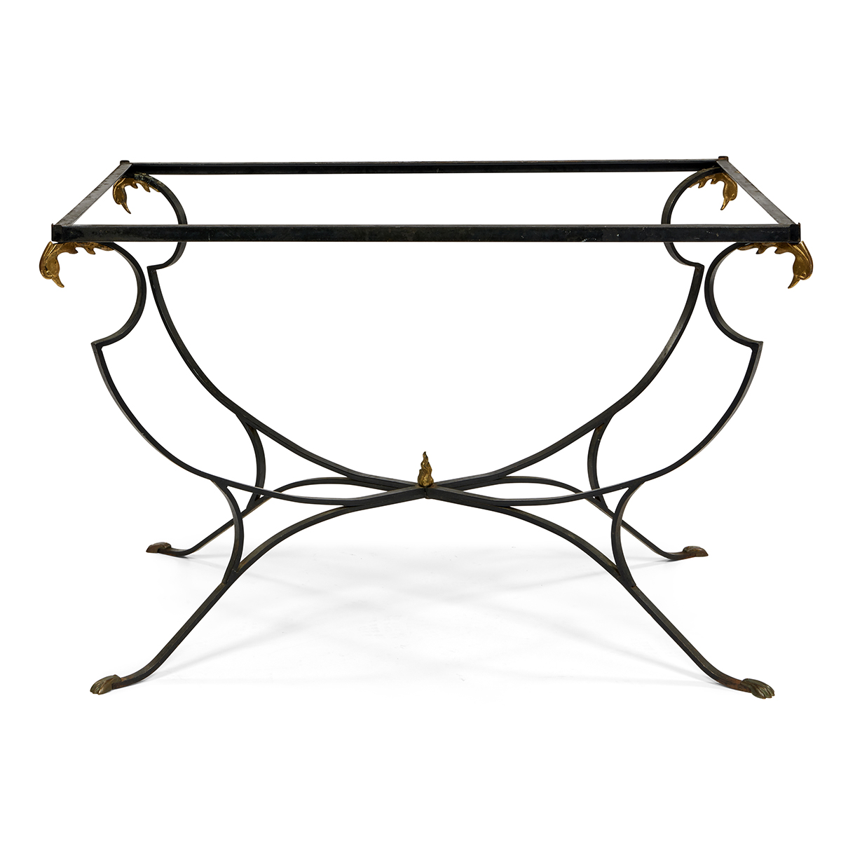 "Samuel Copelon (1904-1991) Neoclassical garden table and six chairs table: 50""w x 33""d x 31""h, side chairs: 15""w x 20""d x 36 1/4""h,..."