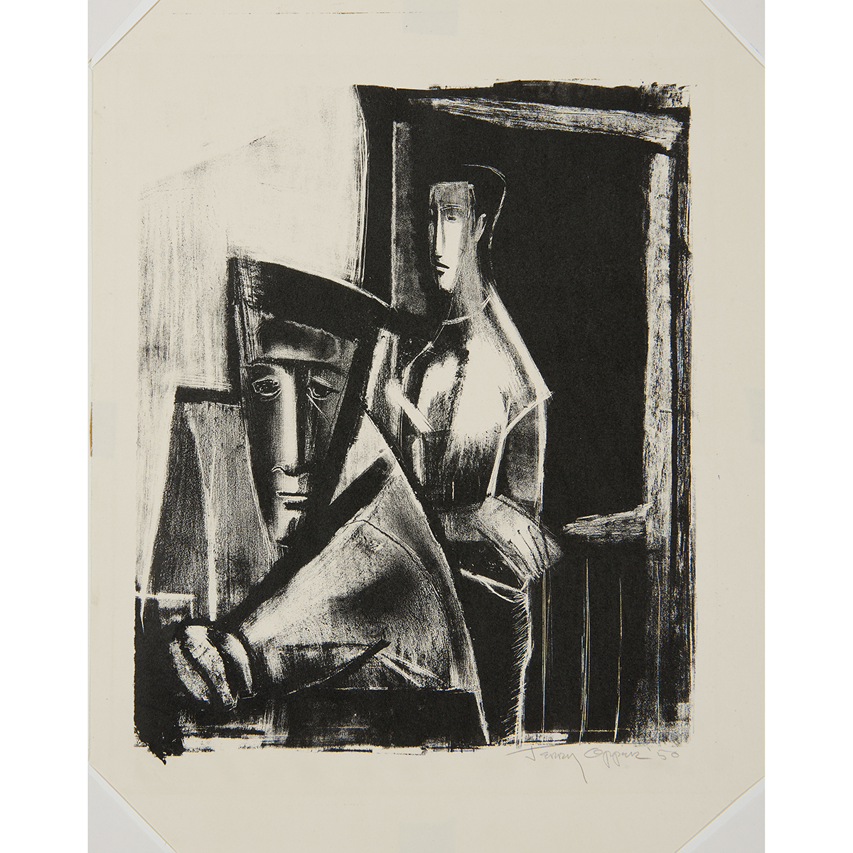 "Jerry Opper, (20th century), Untitled, 1950, lithograph, 12 1/2"" x 10"""