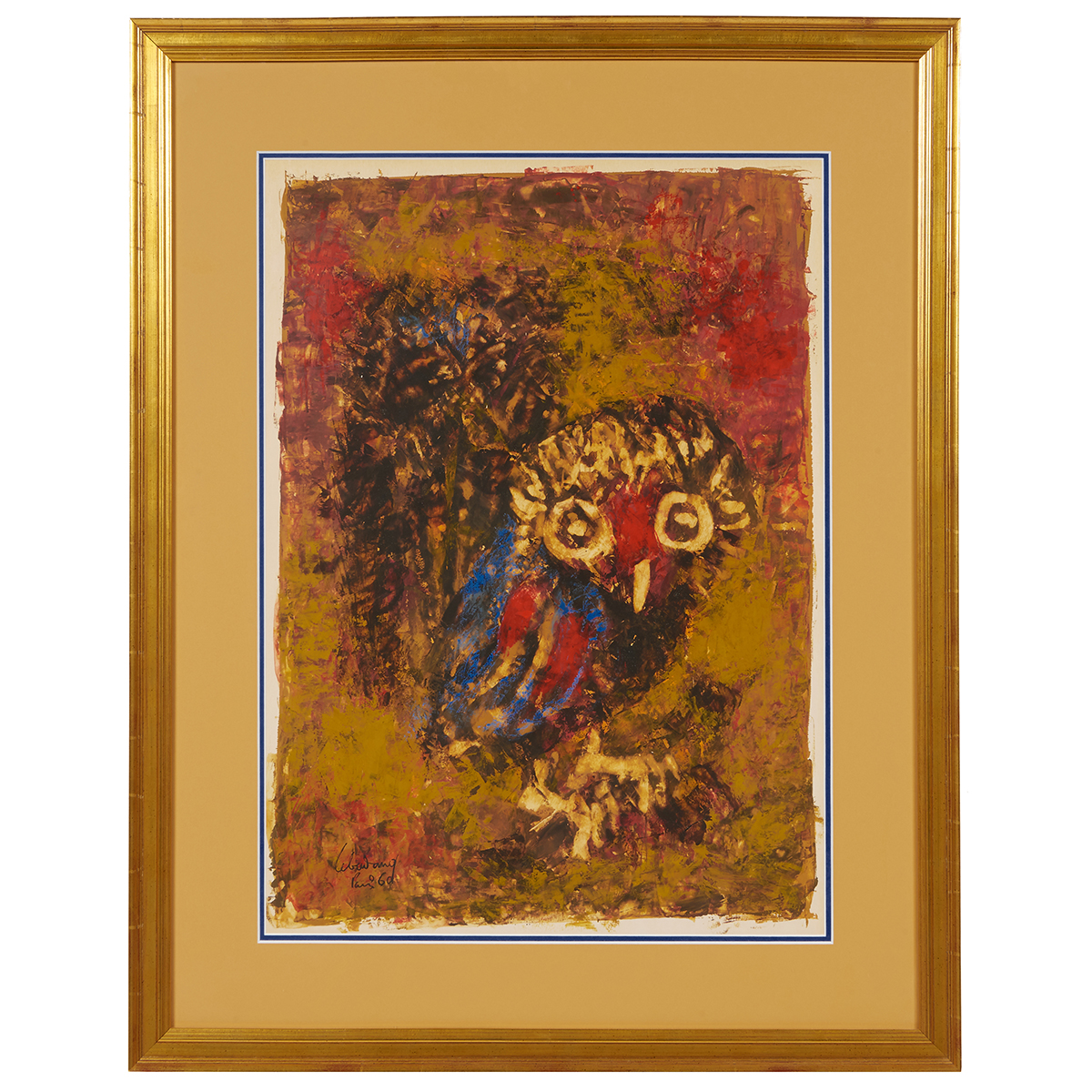 "Lebadang, (Vietnamese/French, 1922-2015), Owl, 1960, mixed media on paper, 22 1/2"" x 16 1/4"""