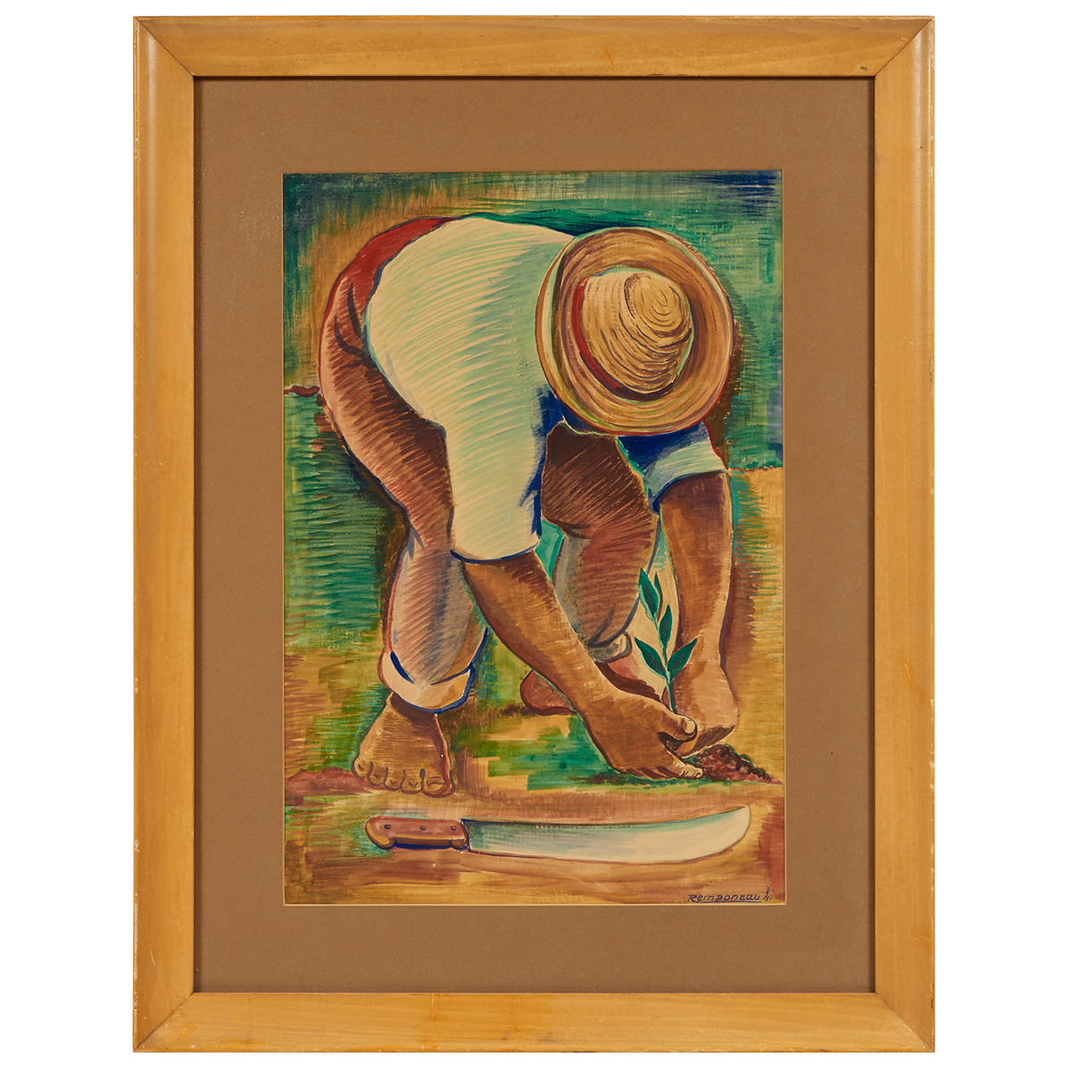 "George Remponeau, Man Planting Fruit, watercolor and gouache on paper, 19"" x 12 7/8"""