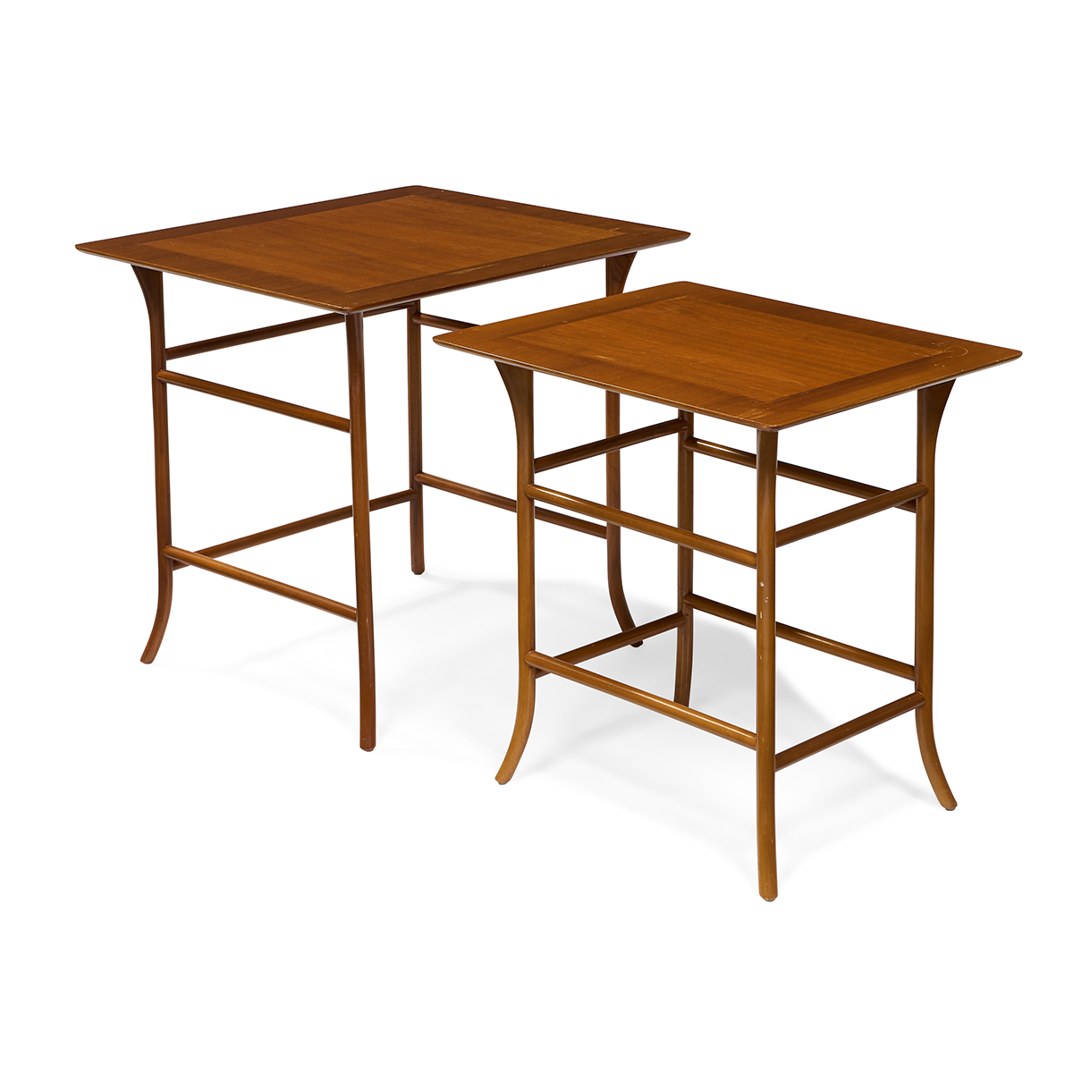 "T.H. Robsjohn-Gibbings (1905-1976) for Widdicomb nesting tables, two 26""w x 23""d x 24""h, 22""w x 18 1/4""d x 23""h"