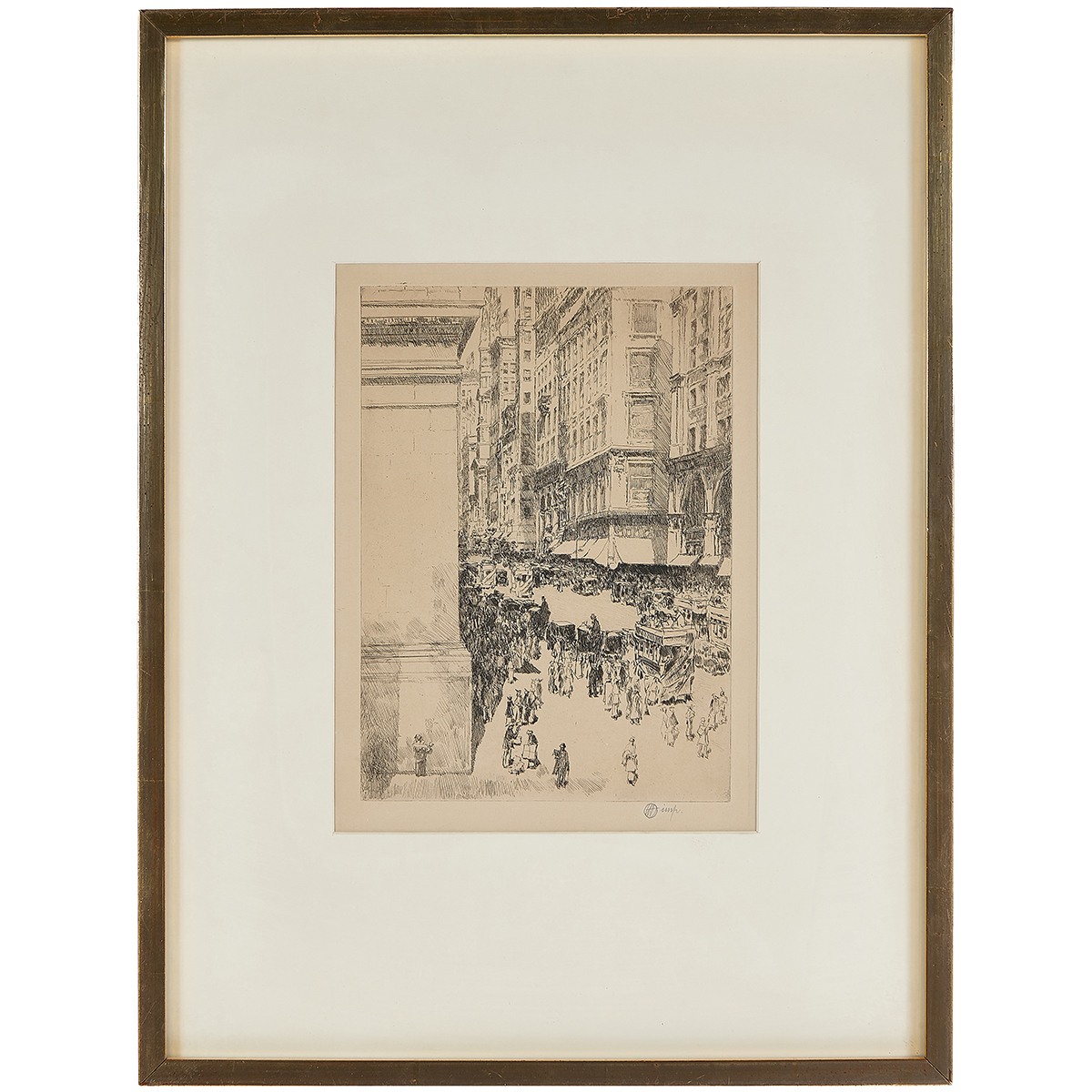 """Childe Hassam, (American, 1859-1935), Fifth Avenue, Noon, 1916, etching, 10"""" x 7 1/4"""""""