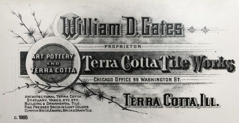 William Gates, Terra Cotta Tile Works, sign, circa 1885