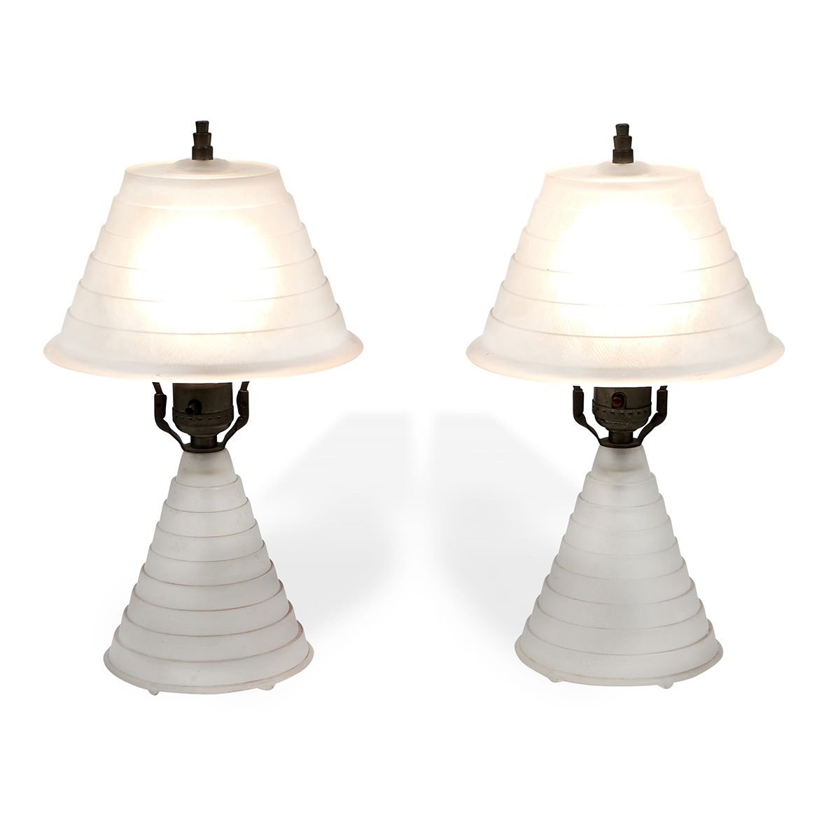 "Art Deco boudoir lamps, pair each: 7""dia x 12""h"