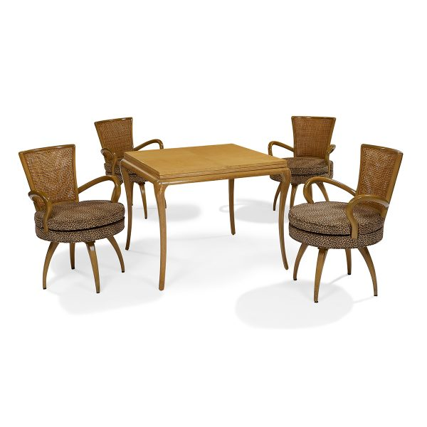"Tommi Parzinger (1903-1981) table and four chairs chairs: 23""w x 25 1/2""d x 33""h; table: 35 1/4""sq x 29""h (66""l open)"