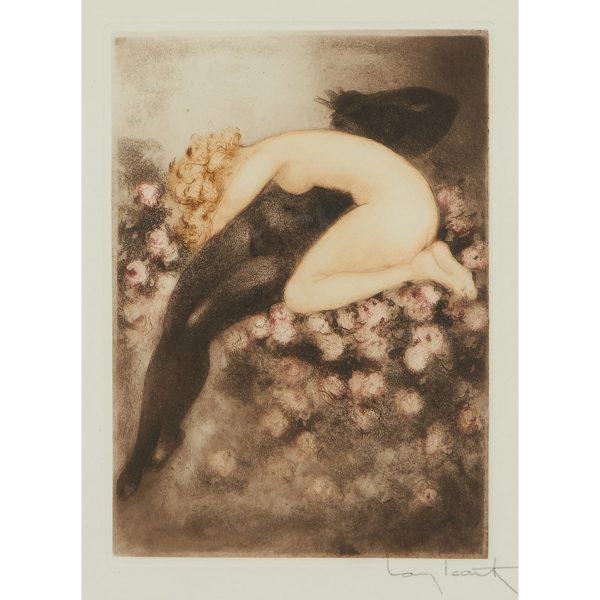 "Louis Icart, (French, 1888-1950), Les Amours de Psyche, color etching, 8 3/4"" x 6 1/4"""