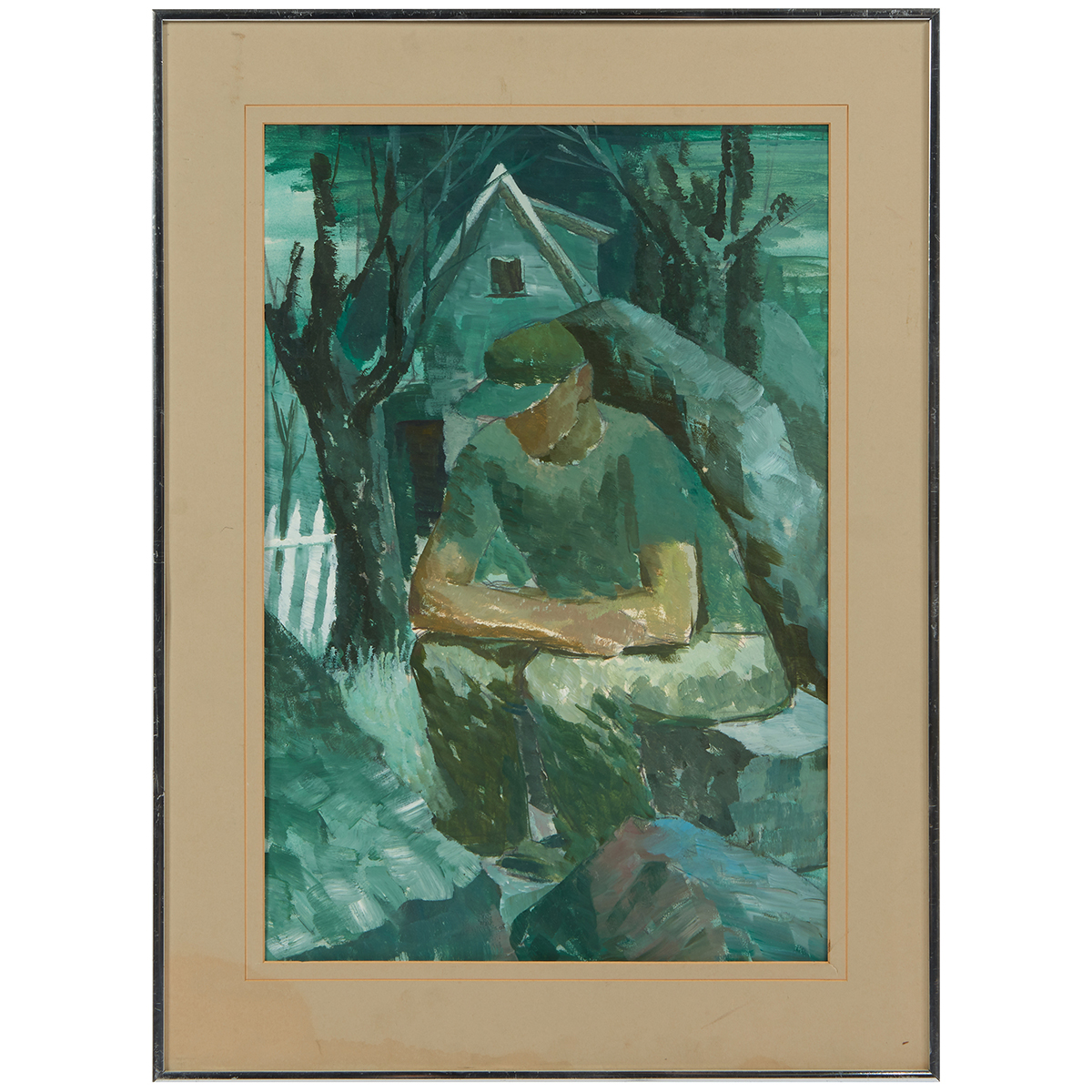 "Iver Rose, (American, 1899-1972), Seated Man, oil on paper, 23"" x 15 1/2"""