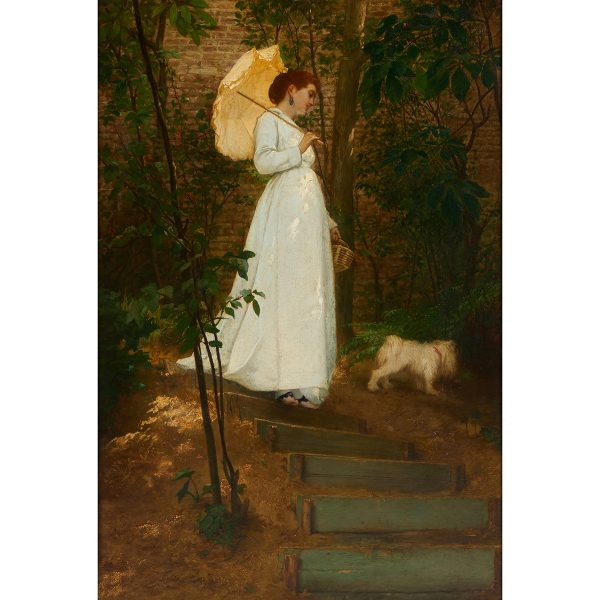 "Frans Verhas, (Belgian, 1827-1897), Woman in White with Umbrella, 1870, oil on panel, 33 1/2"" x 22 1/2"""