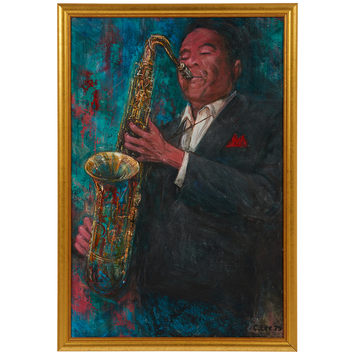 """Clifford Lee, (American, 1926-1985), Untitled (Saxophone Player), 1979, oil on canvas, 36"""" x 24"""""""