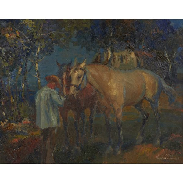 "Walter Krawiec, (American, 1889-1982), Man with Horses, oil on canvas, 20"" x 25 1/4"""