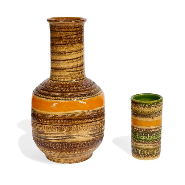 "Aldo Londi (1911-2003) for Bitossi, Distributed by Raymor Sahara vases, two largest: 7""dia x 13""h"