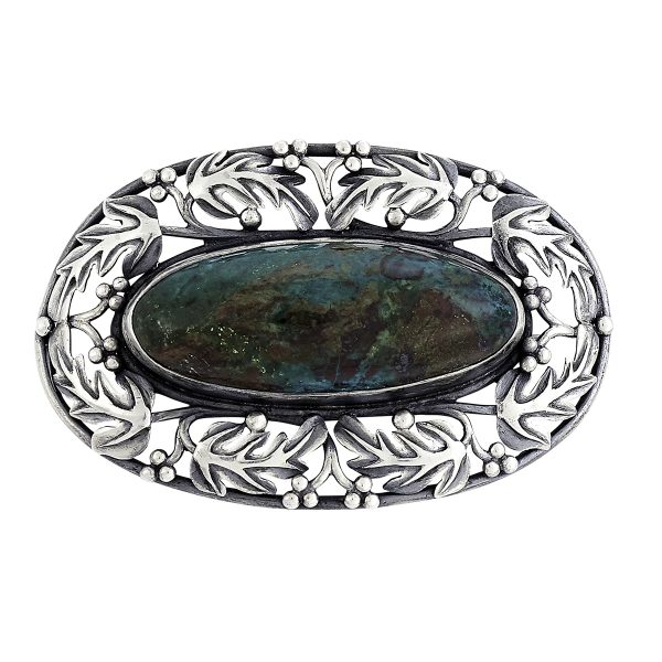 Frank Gardner Hale, large oval brooch with inset cabochon