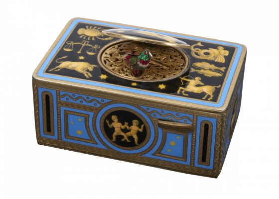 Karl Griesbaum, retailed by Tiffany & Co. New York Zodiac singing bird box automaton Triberg, Germany / New York, NY gilt metal, polychrome enamel