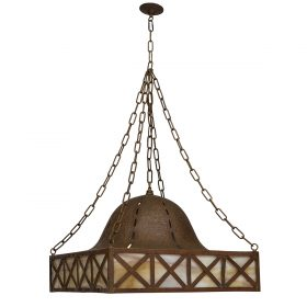 "Attributed to Stickley Brothers chandelier 21 7/8""sq x 18""h (without chain)"