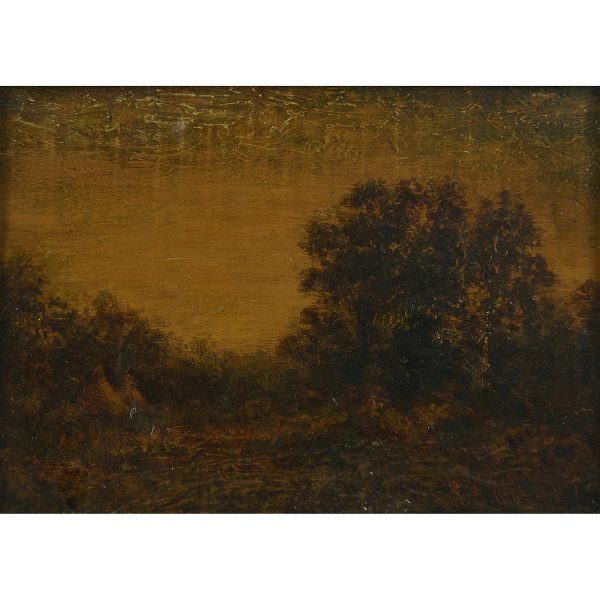 "Attributed to Ralph Blakelock, (American, 1847-1919), Indian Encampment, oil on board, 5 3/4"" x 8 1/2"""
