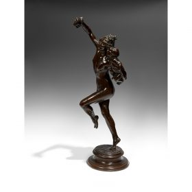 "Frederick William MacMonnies, (American, 1863-1937), Bacchante and Infant Faun, 1893-1894, bronze, 34""h x 11""w x 15""d"