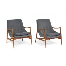 """Rolf Rastad (1916-1995) and Adolf Relling (1913-2006) for Dokka Møbler lounge chairs, pair 30""""sq x 31 1/2""""h"""