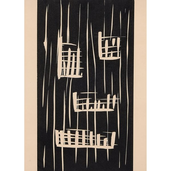 "Günther Förg, (German, 1952-2013), Untitled, 1989, linocut on paper, 11 5/8"" x 7 3/8"""