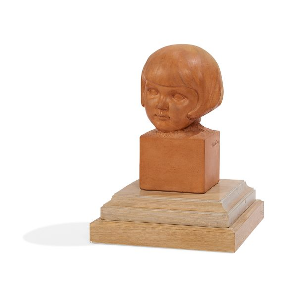 "Josette Hebert-Coeffin, (French, 1907-1974), Bust of a Young Girl, slip-cast clay, 11""h x 6 1/4""w x 7""d"