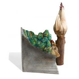 """Jack Earl, (American, b. 1934), Large Rooster, 2000, glazed ceramic, 14""""h x 9 1/2""""w x 7 3/4""""d"""
