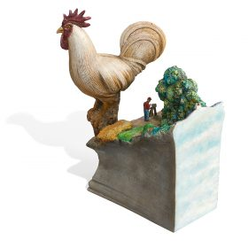 "Jack Earl, (American, b. 1934), Large Rooster, 2000, glazed ceramic, 14""h x 9 1/2""w x 7 3/4""d"