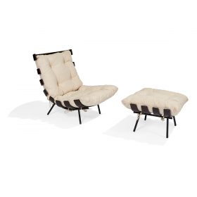"Martin Eisler (1913-1977) and Carlo Hauner (1927-1997) for Forma Costela lounge chair with ottoman chair: 28 1/4""w x 28 1/2""d x 29 1..."