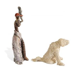"Jack Earl, (American, b. 1934), Smoking Worm figurine with figure of a Dog, 1997, glazed ceramic, 5""h x 2 3/8""w x 1 3/8""d"