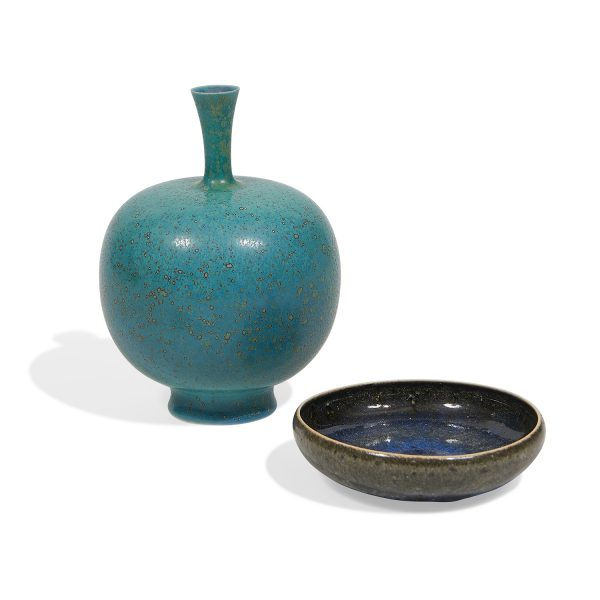 "Carl-Harry Stålhane (1920-1990) for Rörstrand vase and dish vase: 5""dia x 7 1/4""h; dish: 5 1/8""dia x 1 1/4""h"