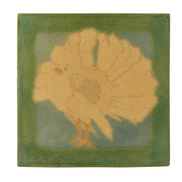 "Marblehead Pottery tile decorated with a turkey 5 3/4""sq x 5/8""h"