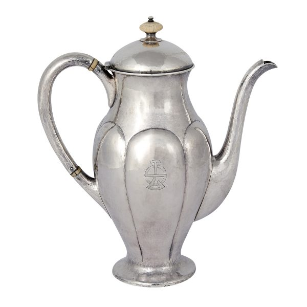 "The Kalo Shop coffee pot with lobed decoration, #P771S 7 3/4""w x 4 1/8""d x 8 1/2""h"
