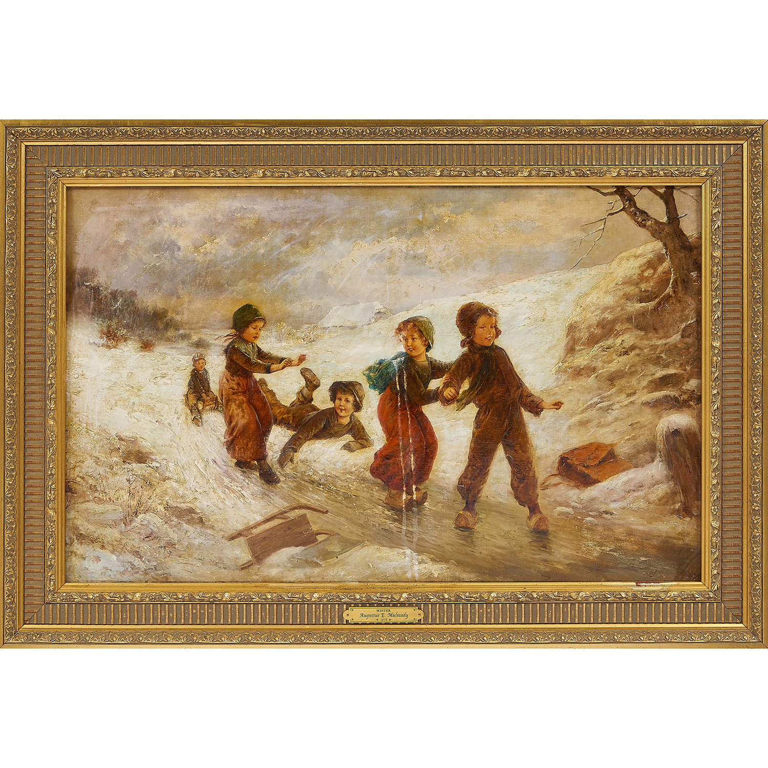 "Augustus Edwin Mulready, (British, 1844-1905), Winter, 1875, oil on canvas, 19 7/8"" x 32 1/4"""