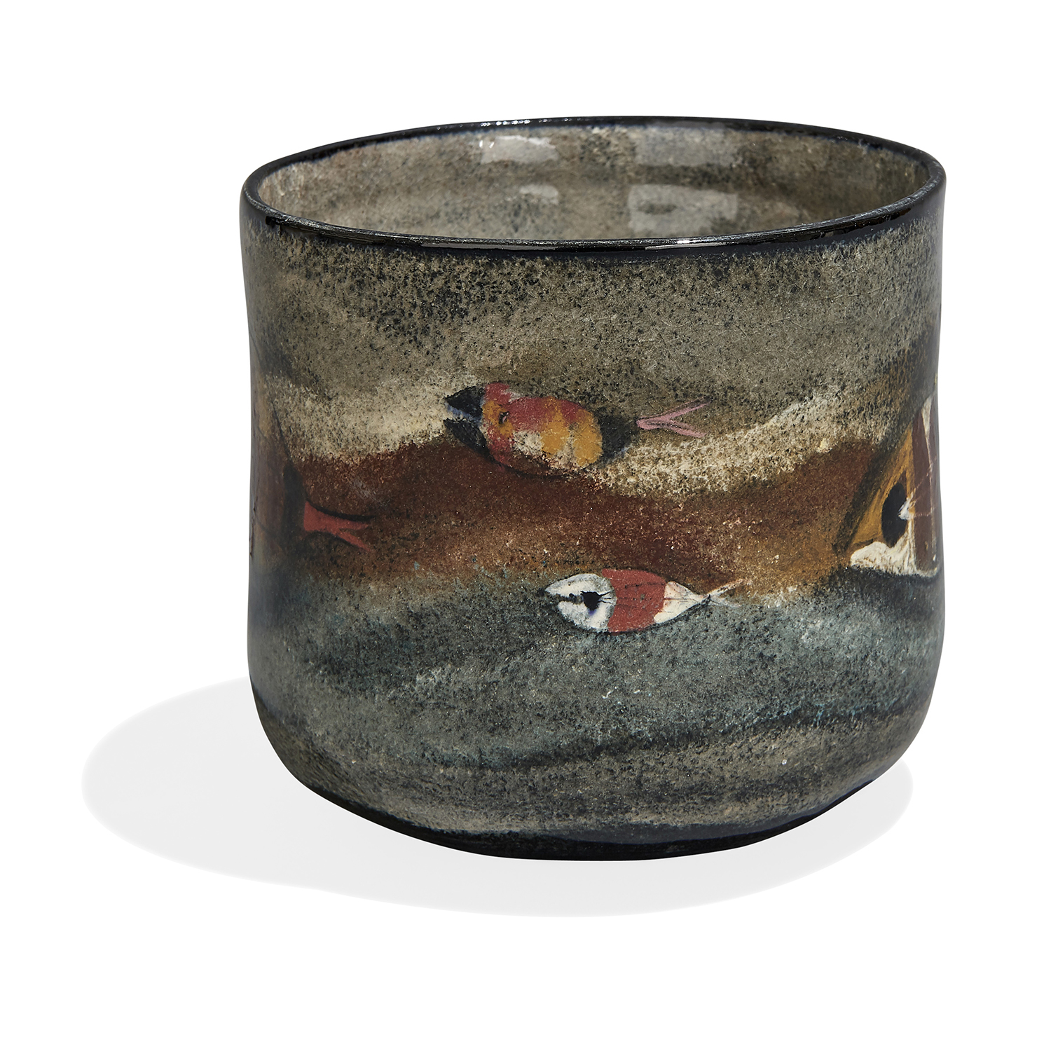 """Polia Pillin (1909-1992) cylindrical vase decorated with fish 4 7/8""""dia x 4 5/8""""h"""