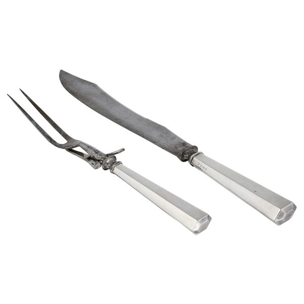 "The TC Shop two-piece carving set: fork and knife knife: 1 3/8""w x 14 1/8""l"